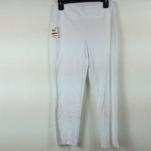 Style&Co XS White Cropped Capri Fringe Bottom 4H34